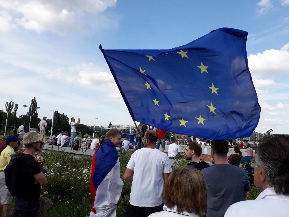 Die Demonstranten zeigen ihre pro-europäische Haltung.