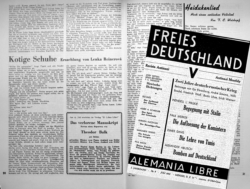 Lenka Reinerovás und Theodor Balks Publikationen aus dem Exil.