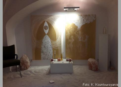 Indoor Beach und Meditationsraum.