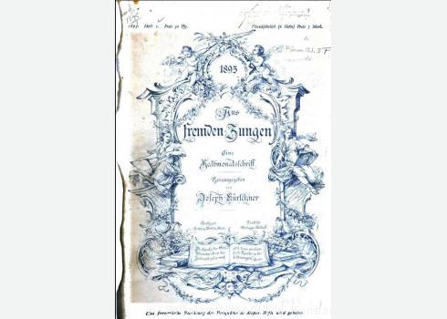 Aus fremden Zungen. Zeitschrift für die moderne Erzählungslitteratur des Auslandes. Ledermann, Berlin (bis 1903: Deutsche Verlags-Anstalt, Stuttgart u. a.) 1.1891 – 20.1910[?] ZDB (Aus fremden Zungen. Eine Halbmonatsschrift)