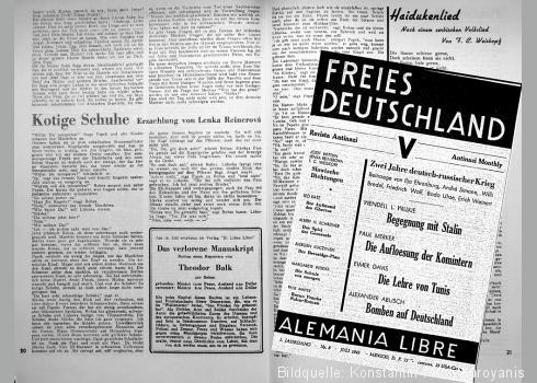 """1943 veröffentlichte Lenka Reinerová """"Kotige Schuhe"""" im Freien Deutschland. In der gleichen Ausgabe ein Hinweis auf Theodor Balk und F. C. Weißkopf"""
